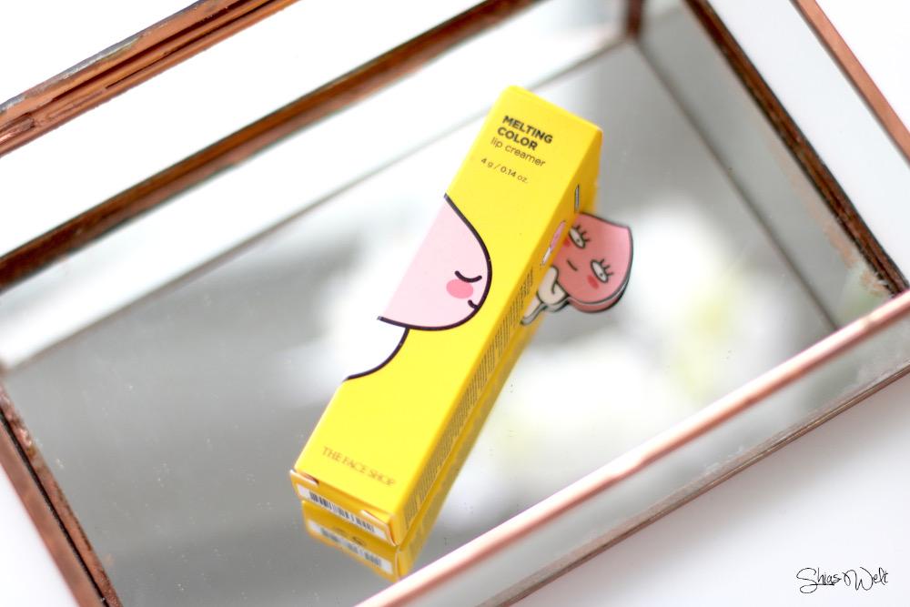 The Face Shop x Kakao Talk Friends Melting Color Lip Creamer 09 Lovely APeach Review Erfahrung Stwach Test