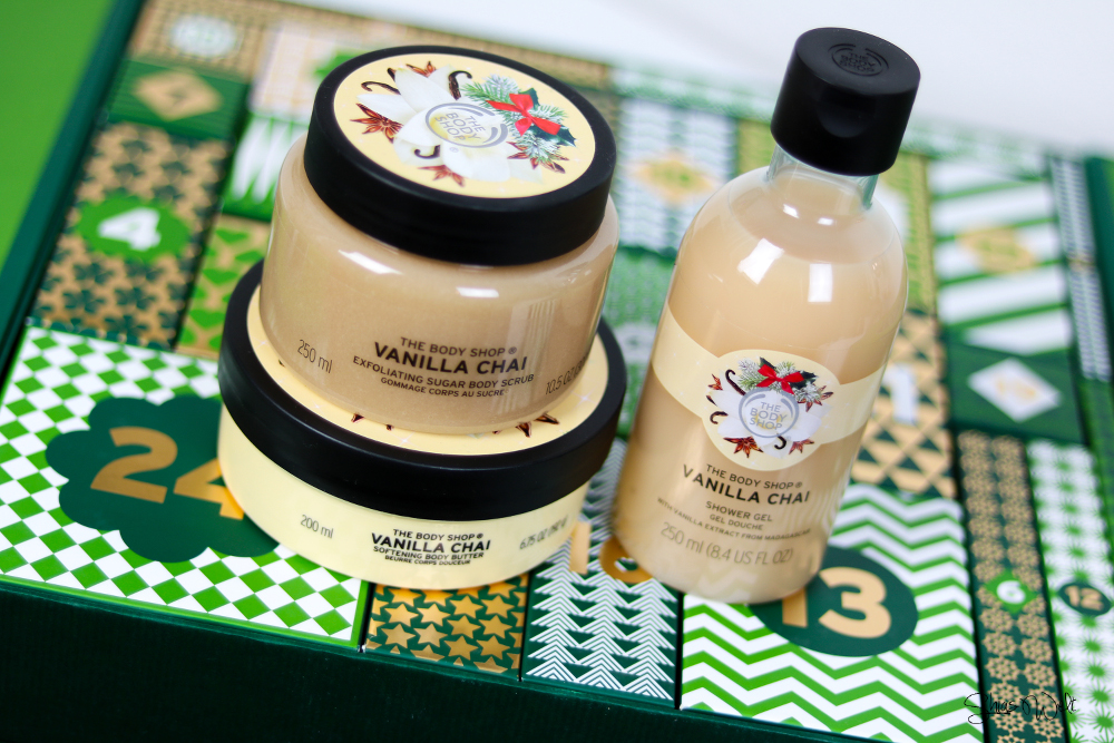 The Body Shop Adventskalender + Gewinnspiel Chai Body Scrub Show Gel Butter