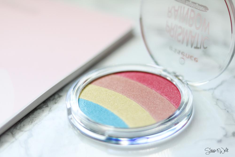 Essence Prismatic Rainbow Glow Highlighter Review Test Anwendung Look Make Up Regenbogen Beauty Blog Shias Welt